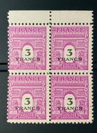 1945 NEUF Bloc De 4 Timbres Arc De Trimphe 3 Fr YT 711 - 1944-45 Arc De Triomphe