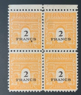 1945 NEUF Bloc De 4 Timbres Arc De Trimphe 2 Fr YT 709 - 1944-45 Arc De Triomphe