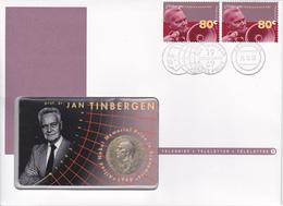 2,0003 NVPH FDC Téléphone 3 1654  X2  Jan Tinbergen Prix Nobel Tele Lettre Letter Brief Pays-Bas 26-9-1995 Nobel Prijs N - FDC