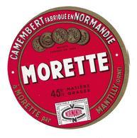 ETIQUETTE De FROMAGE..CAMEMBERT Fabriqué En NORMANDIE..Morette à MORETTE Par MANTILLY (Orne 61) - Kaas