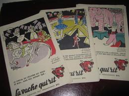 """LOT DE 9 BUVARDS Illustrés """"LA VACHE QUI RIT"""" Signés ALAIN SAINT-OGAN 1950-60 SERIE """"L'ART DU CIRQUE"""" 9/10 - Alimentos"""