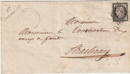 Bas Rhin LSC Cursive 67 Drusenheim, T14 Bischwiller, 20c Noir O.grille 1849 (le Timbre N'est Pas D'origine....) - Marcophilie (Lettres)