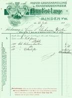 """MINDEN I W 1909 Rechnung Besonders Deko """" Heinr.Ferd.Lange - Papierwaarenfabrik U Großhandlung """" - Imprimerie & Papeterie"""