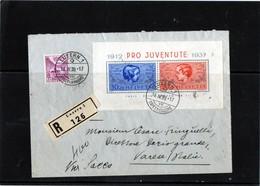CG23 - 1938 Svizzera - Busta Raccomandata Viaggiata Luzern X Varese  Affrancata Con Foglietto Pro Juventute 1937 - Storia Postale