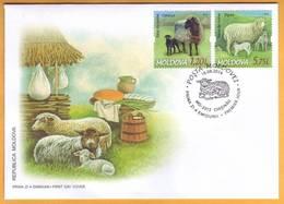 2014 Moldova Moldavie Moldau Breeds Of Sheep  FDC Official First Day Cover. - Farm