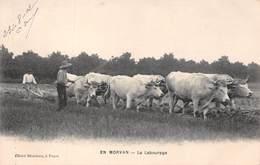 En Morvan - Agriculture - Le Labourage En 1912 - Attelage De 6 Boeufs Au Travail - Cliché Blondeau - Francia