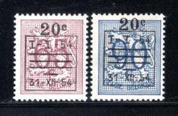941/942 MNH 1954 - Cijfer Op Heraldieke Leeuw Met Voorafstempeling. - Bélgica