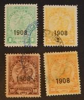 """PARAGUAY YT 169/172  OBLITÉRÉS  """"LIONS"""" ANNÉE 1908 - Paraguay"""