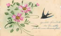 HIRONDELLES - Gentille Hirondelle Des Tourailles  (dessin) - Carte Dentelée En état - Pájaros