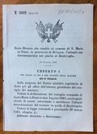 """S.MARIA IN DUNO - REGIO DECRETO Del 10/12/1885 ( ORIGINALE) Che  """" CAMBIA L'ATTUIALE SUA DENOMINAZIOINE IN BENTIVOGLIO """" - Décrets & Lois"""
