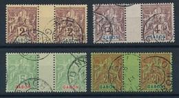 DI-613:GABON: Lot Avec Obl Sur Paire Inter Panneau N°17/19-22 - Gabon (1886-1936)