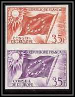 France Service N°20 Conseil De L'europe Europa Drapeau Flag Paire Essai Proof Non Dentelé Imperf ** Mnh - Probedrucke
