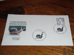 Escargot Escargots Enveloppe  2008 Italie 30 Ans Héliciculture - Coneshells
