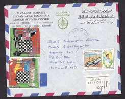 Libya: Cover To Netherlands, 2 Stamps, Gaddafi, Qadhafi, Dictator, Championship Chess, Rare Real Use (traces Of Use) - Libyen