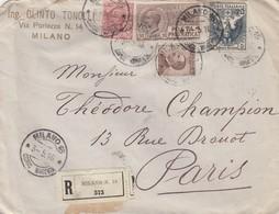 LETTRE. ITALIE. 3 5 1916. RECOMMANDE MILANO POUR PARIS  / 2 - 1900-44 Vittorio Emanuele III