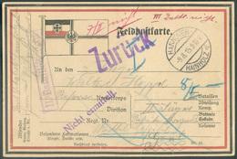 Allemagne Feldpostkarte Dc HANNOVER 9.8.1915 Vers Gent (BE) + Griffes Violettes ZURÜCK, II.Bataillon Nichtt Et Nicht Erm - Weltkrieg 1914-18