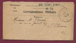 140320 - MILITARIA GUERRE 1914 18 - Cachet 103e TERRITORIAL D'INFANTERIE 4e Cie Campagne De 1914 RF - Marcophilie (Lettres)