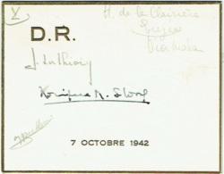 Menu. Octobre 1942. Nombreuses Signatures De Participants. - Menus