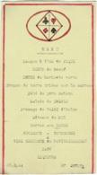 """Menu. Thème Carte à Jouer. Langue """"As De Pique"""", Salade De Trèfle, Tarte Aux Dames.... 1944. - Menus"""