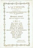 """Menu. Banquet De """"L'Avenir"""" , Société De Tir. Taverne De Londres 1910. - Menus"""