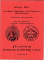 """Menu. Franç-Maçonnerie . Fête Des Princes Rose-Croix. """"Amis Philanthropes """"et """"Espèrance"""" Bruxelles. 2003. - Menus"""