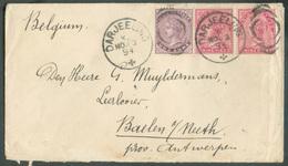 9pi(x2)-1a. Obl. Sc DARJEELING Sur Enveloppe Du 30 Novembre 1894 Vers Baelen (BE) - 15254 - 1882-1901 Imperium