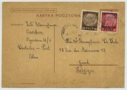 (Pologne) Entier Postal Complété Par Des Timbres Allemands Deutche Post Osten Pour Gand . Cachet Varsovie 1940 . - Stamped Stationery