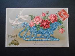 Colombes Tirant Un Traineau En Myosotis,plein De Roses Poisson Doré - 1er Avril - Gaufrée - Série 13876 - Birds