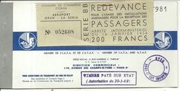 BILLET AIR FRANCE 1959 . TOULOUSE ORAN + REDEVANCE - Mundo