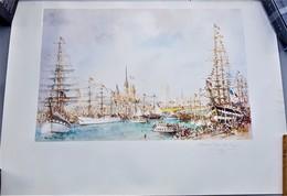 Rare  Affiche Dessin Avec Autographe Manuscrit Au Crayon De Bois De L'auteur Armada De Rouen 1989 64 X 45 Cm - Posters