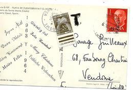 Cachet TAXE 0,20c Type Gerbes Sur Carte Postale Espagne 1963 - 1961-70 Storia Postale