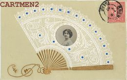 BELLE CPA : BRODEE EVENTAIL DENTELLE COLLAGE ARTISTE ART NOUVEAU FANTAISIE EMBOSSED 1900 OTERO - Embroidered