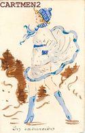 BELLE CARTE PEINTE A LA MAIN FEMME MODE DESSIN GOUACHE ILLUSTRATEUR JEANNINE MODE ENGLAND WOMAN FASHION - 1900-1949