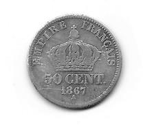 50c  Argent  Napoléon III  1867 A Monnaie Lisible Sur Sont Ensemble Voir Photo - France