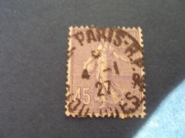 """1903-60 SEMEUSE Lignée - Oblitéré   N°  197    """" 45c Violet """"  Net    5    """" Paris"""" - 1903-60 Säerin, Untergrund Schraffiert"""