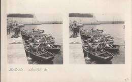 CARTE PHOTO BELLE ILE En Mer  STEREOSCOPIQUE Daté Du Juillet 21 (bateaux Retour De Pêche Port ) - Belle Ile En Mer