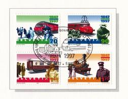 """Schweiz, 1997, Nr. 1601-1604, Gestempelt Auf A5 Erinnerungsblatt """"150Jahre Schweizer Bahnen"""" - Schweiz"""