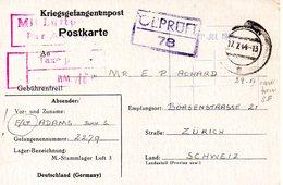 Kriegsgefangenenpost Prisonnier 1944 Stalag LUFTLAGER 3 SAGAN Mit Luftpost Taxe Perçue + Censure Vers Zurich - Documenti