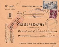 Valeur à Recouvrer : Lettre Entière : Strasbourg Pl De La Cathédrale - Marcophilie (Lettres)
