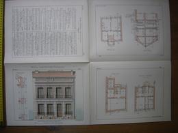 Vers 1900 Planche PETITES CONSTRUCTIONS FRANCAISES Pavillon Sucy En Brie Thézard 50X65 Cm - Architecture