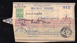MANDAT POSTE .MOREZ DU  JURA 1941 . - Entiers Postaux