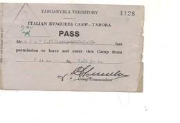 3100) POW 2^ WW PRIGIONIERI GUERRA PASS TANGANYKA TERRITORY  ITALIAN CAMP TABORA - 1900-44 Vittorio Emanuele III