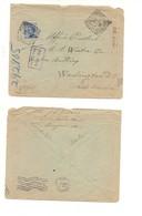 3120) MICHETTI 25C AZZURRO ISOLATO 1910 OSIO SOTTO BERGAMO ANNULLO TONDO RIQUADRATO COVER TO USA - 1900-44 Vittorio Emanuele III