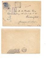 3128) MICHETTI 25C AZZURRO ISOLATO 1910  MEZZANO INFERIORE PARMA ANNULLO TONDO RIQUADRATOCOVER TO USA - 1900-44 Vittorio Emanuele III
