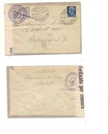 3134) IMPERIALE £1,25 ISOLATO ANNULLO MASCHITO POTENZA COVER TO USA CENSURA - 1900-44 Vittorio Emanuele III