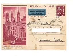 3255) Lietuva Lithuanie VILNIUS 1940 Carte Postale 35ct Par Avio To Italy  MANCA STAMP - Lituania