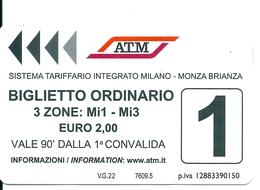 Biglietto  Usato   -  A T M   MILANO  -  Anno  2019 - Metro