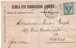 CHTD/V - ITALIE CEDOLA PER COMMISSIONI LIBRARIE SEPTEMBRE 1909 - 1900-44 Vittorio Emanuele III
