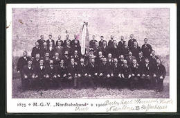 AK Eisenbahner Des M.-G.-V. Nordbahnbund 1900 - Trains