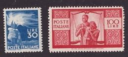 Repubblica, 30 E 100 Lire Democratica Del 1946/8 Nuovi **          -CM37 - 6. 1946-.. Republik